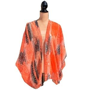 ☀️4/25 Vero Moda Feather Print Sheer Kimono